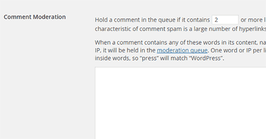 Comment moderation settings