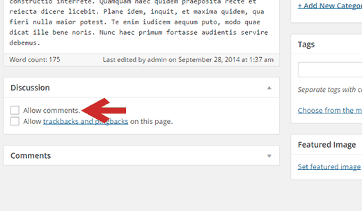 Turning comments off / on for a single post in WordPress