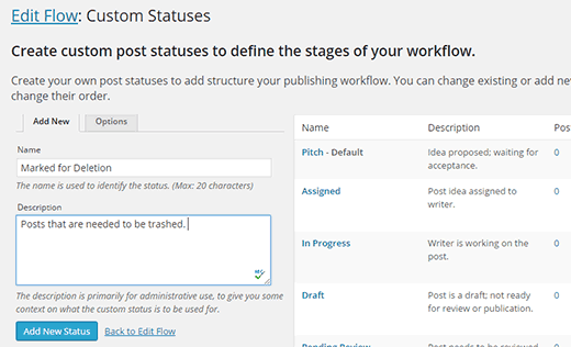 Creating a new custom post status