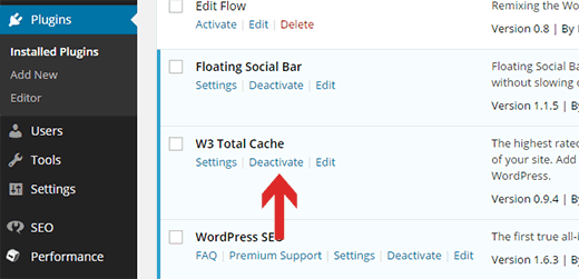 Deactivating W3 Total Cache plugin in WordPress