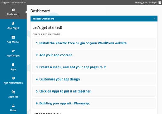 Reactor app building dashboard