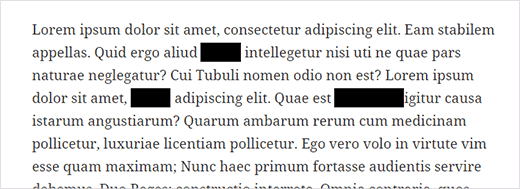 Redacted text blocks in WordPress post