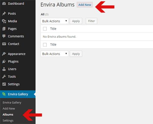 Creating a new album in Envira