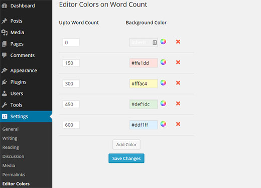 Editor Color Settings