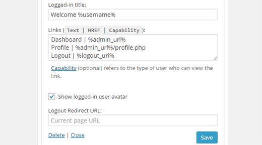 More sidebar login widget settings