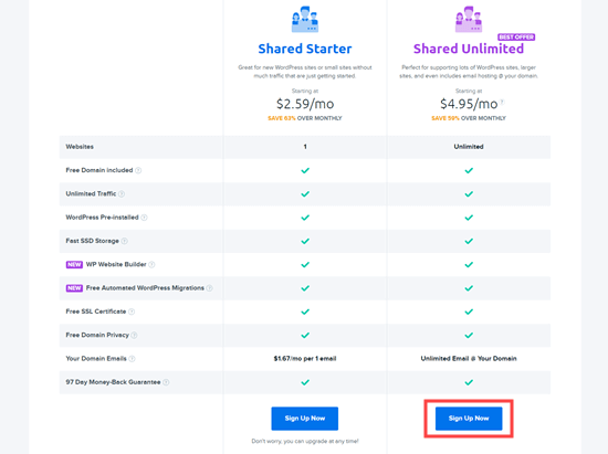 Choose either of the Dreamhost hosting plans to use the Dreamhost coupon