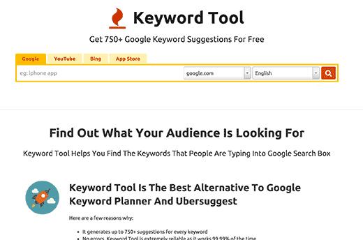 keywordtool - بهترین افزونه های وردپرس SEO و ابزارهایی که باید از آن ها استفاده کنید.(قسمت اول)