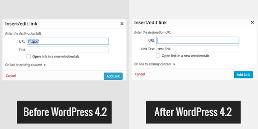 In WordPress 4.2 Link title field is replaced by link text
