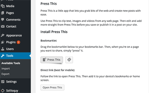 Installing Press This tool for WordPress