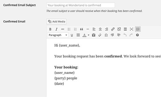 Email templates for booking notifications