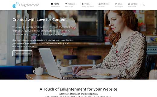 22 best free wordpress business themes 12 enlightenment accmission