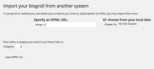 Importing an OPML file in WordPress