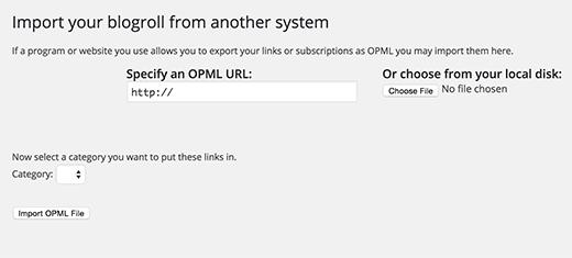 Importación de un archivo OPML en WordPress