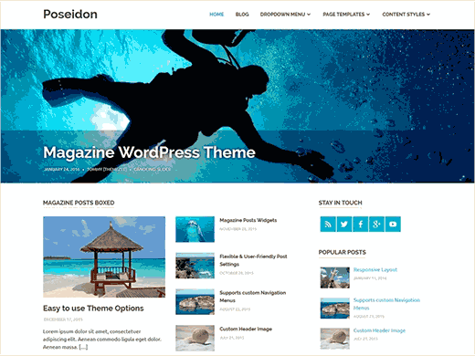 24 best free wordpress business themes poseidon is a multi purpose wordpress theme with beautiful spacious layout it can be used as a simple blog theme a business website friedricerecipe Gallery