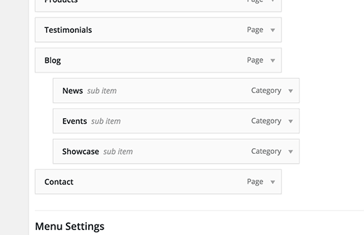 Adding categories to navigation menu