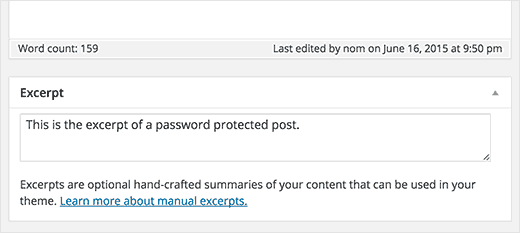 Adding excerpt for your password protected post in WordPress