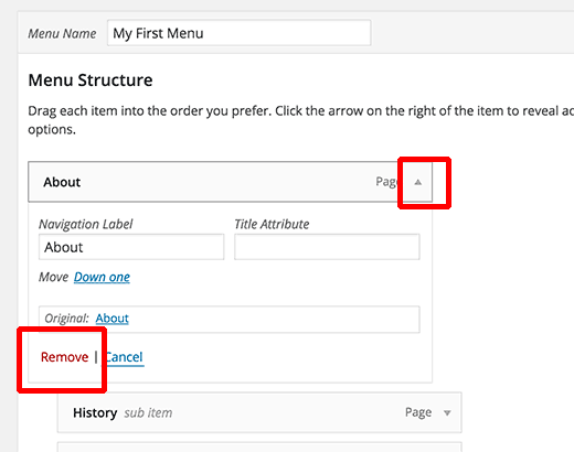 Removing a link from navigation menu in WordPress