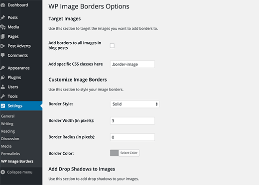 Settings page for WP Image Borders plugin