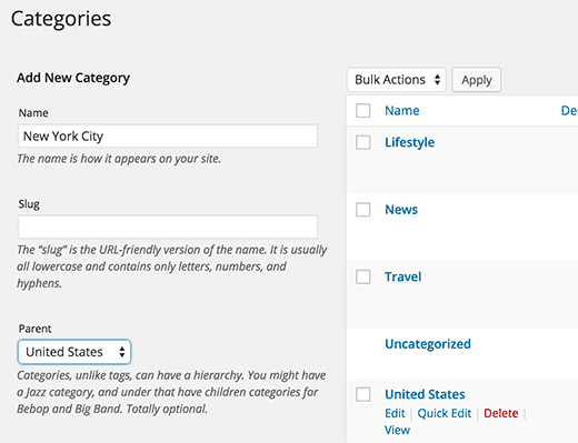 How To Add Categories And Subcategories To Wordpress