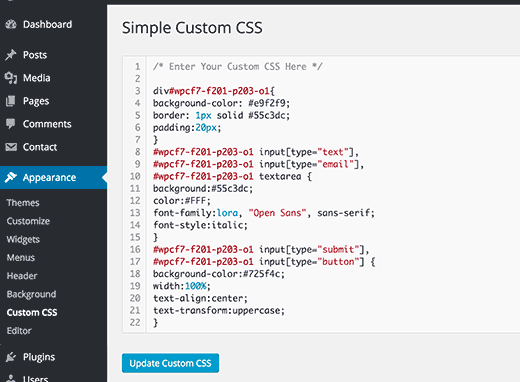 How to easily add custom css to your wordpress site method 2 adding custom css using a plugin malvernweather Gallery