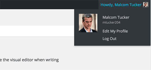 Volledige naam gebruikt in WordPress admin gebied