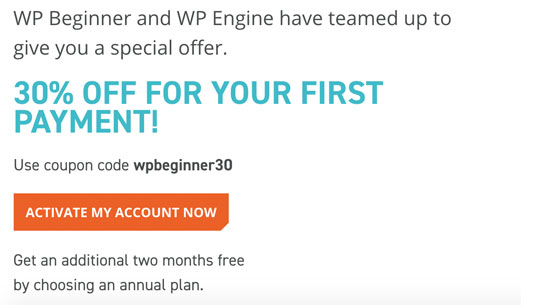 WP Engine Coupon for WPBeginner Users