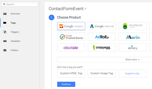 Creating an event tracking tag in Google Tag Manager