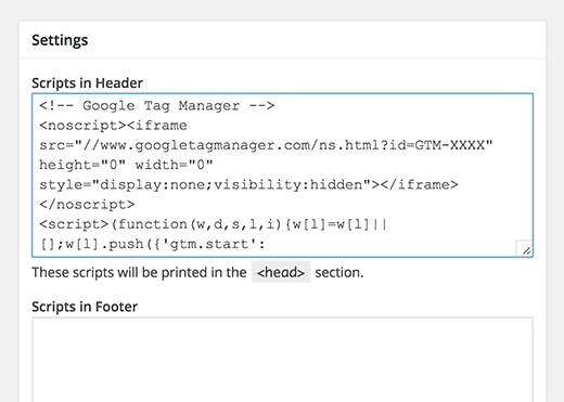 Add your Google Tag Manager code in WordPress