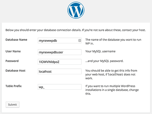 Creating configuration file step during WordPress installation