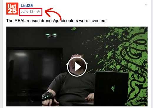 Facebook URL видео