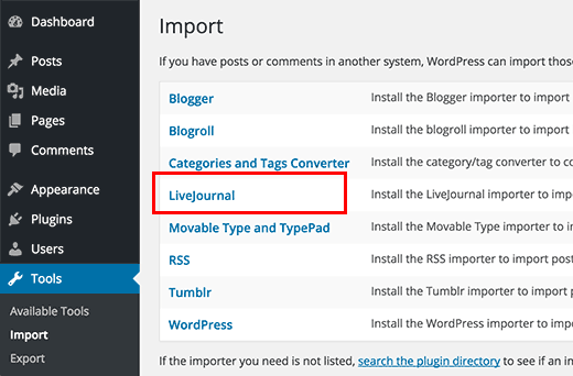 LiveJournal Import tool in WordPress