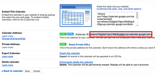 Copying the Google Calendar ID