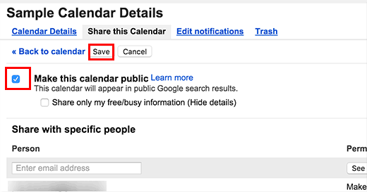 Making your Google Calendar public