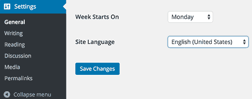 Changing language in WordPress