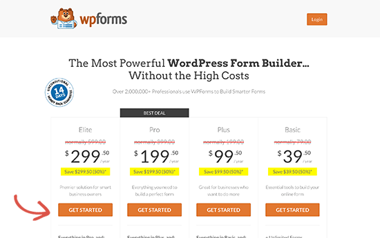 WPForms pricing page with coupon applied