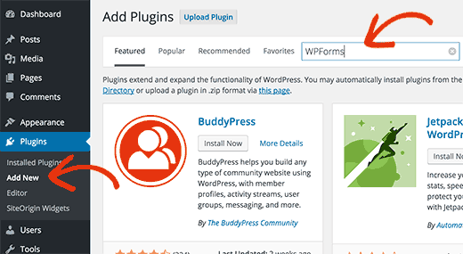 Go to add new plugin page to search and install WPForms plugin
