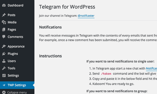 Telegram for WordPress settings