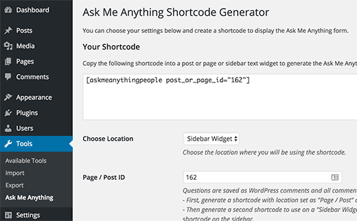 Shortcode to use in a widget