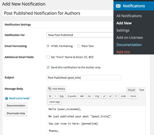 Create a new post published notification for authors in WordPress