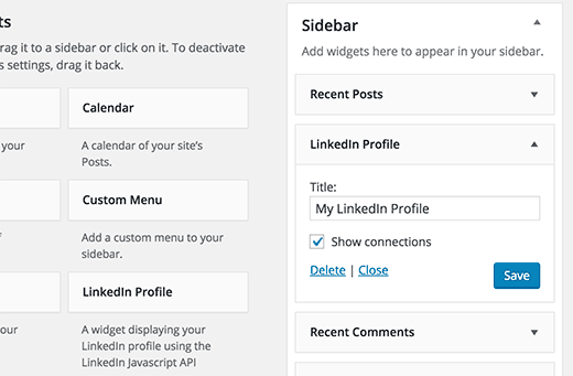 LinkedIn Profile Widget