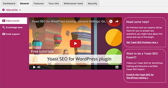 Yoast SEO on-screen help