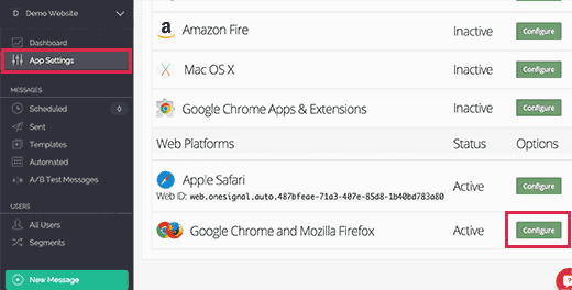 Configure web push notifications for Chrome and Firefox