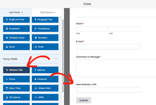Adding form fields in WPForms