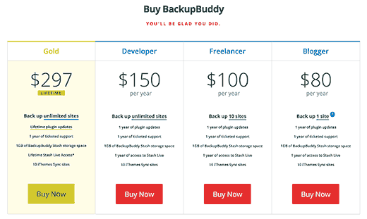 Select BackupBuddy plan