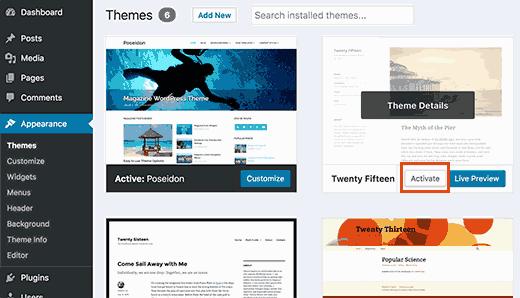 Wechseln Sie zu einem Standard-WordPress-Design