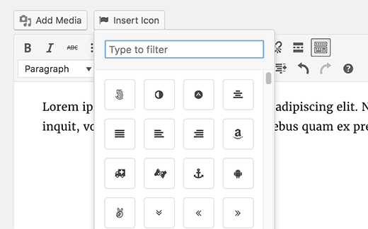 Insert icon into your WordPress post