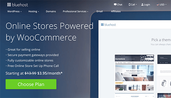 Bluehost WooCommerce - Get Started - Choose Plan