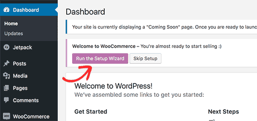 Run WooCommerce setup wizard