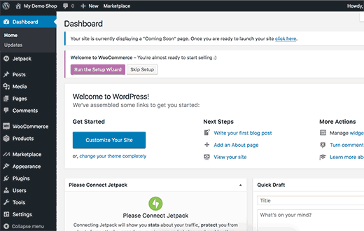 WordPress admin dashboard
