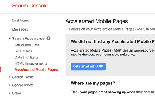 Versnelde mobiele pagina's in Google Search Console